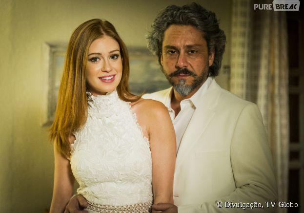 """Em """"Império"""", Maria Isis (Marina Ruy Barbosa) e José Alfredo (Alexandre Nero) se vestem todos de branco para o Ano Novo"""