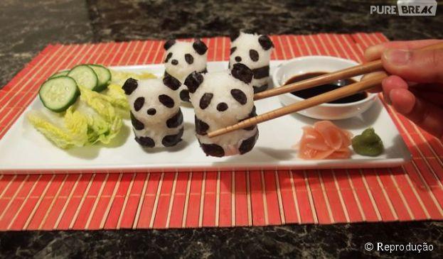 Esses pandas sushi são extremamente fofos, dá até uma pena de comer