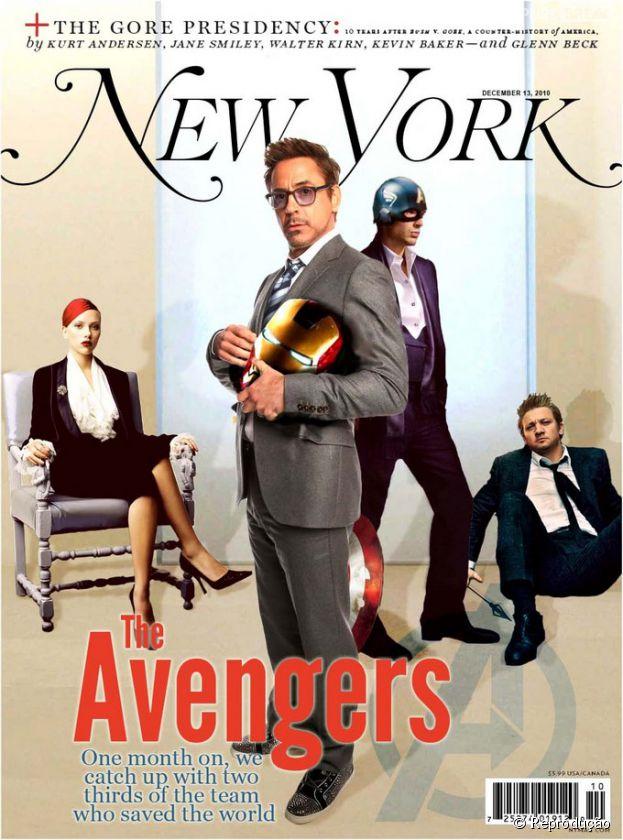 """""""Os Vingadores"""" na capa do New York: """"Os Vingadores – Um mês depois, nós nos reunimos com dois terços da equipe que salvou o mundo"""""""