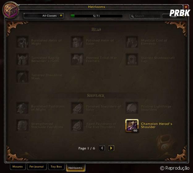 """Em """"World Of Warcraft"""": Patch 6.1 traz novo painel de Itens de Herança"""