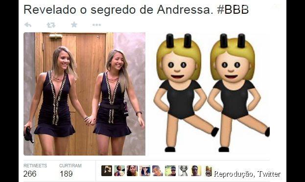 """As gêmeas do """"BBB15"""", da Globo, lembram muito esse emoji do Whatsapp."""
