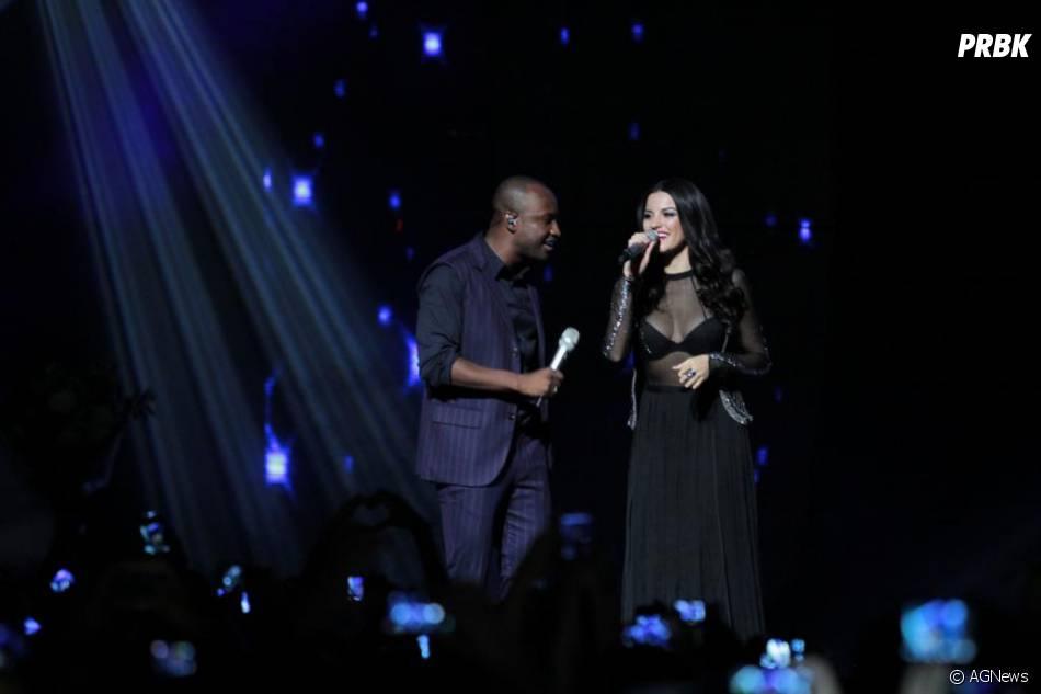 """Maite Perroni se emocionou com o público ao cantar """"Inexplicable"""" com Thiaguinho"""