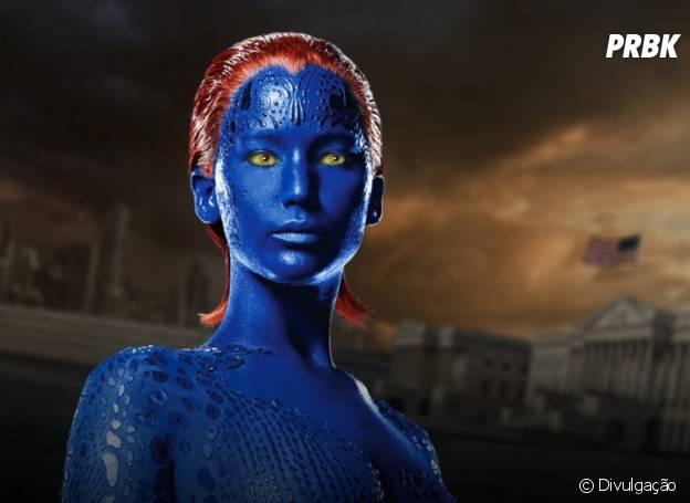 """Como Mística, em""""X-Men: Dias de um Futuro Esquecido"""",Jennifer Lawrence precisa de seis horas para ficar com o visual da mutante"""