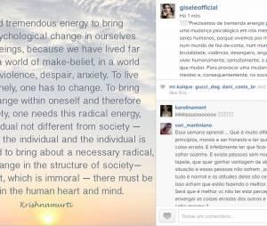 Gisele Bündchen é tão preocupada, que sempre traduz para o português, as mensagens que coloca no Instagram