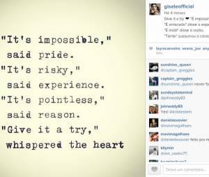 Gisele Bündchen é um grande exemplo de vida para seus fãs no Instagram