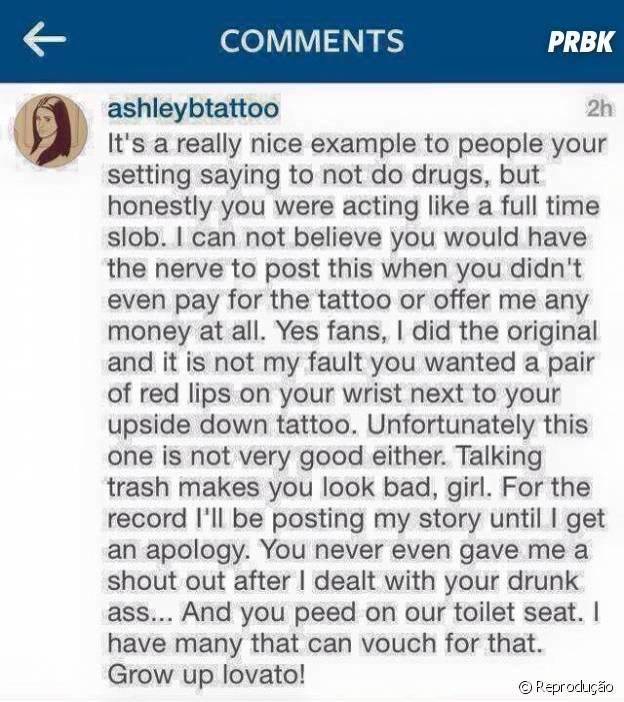 Demi Lovato faz nova tatuagem e tatuadora ataca a cantora no Instagram