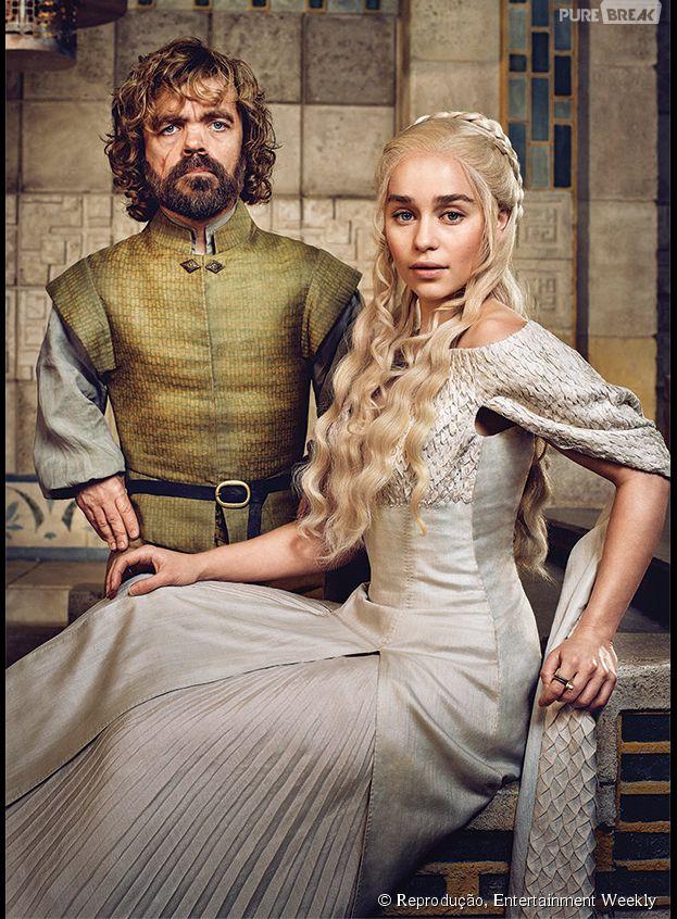 """Em """"Game of Thrones"""", Daenerys (Emilia Clarke) e Tyrion (Peter Dinklage) se encontraram e os atores amaram!"""