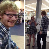 """Ed Sheeran invade show de calouros em shopping para cantar """"Thinking Out Loud"""" com fã!"""