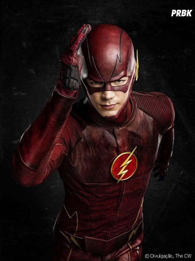 """O primeiro uniforme de Barry (Grant Gustin) era todo trabalhado no vermelho em """"The Flash"""""""