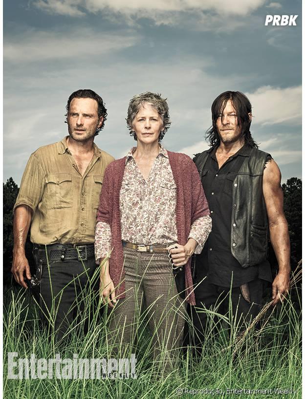 """Em """"The Walking Dead"""", Andrew Lincoln, Norman Reedus e Melissa McBride comentam o que vem por aí na série"""