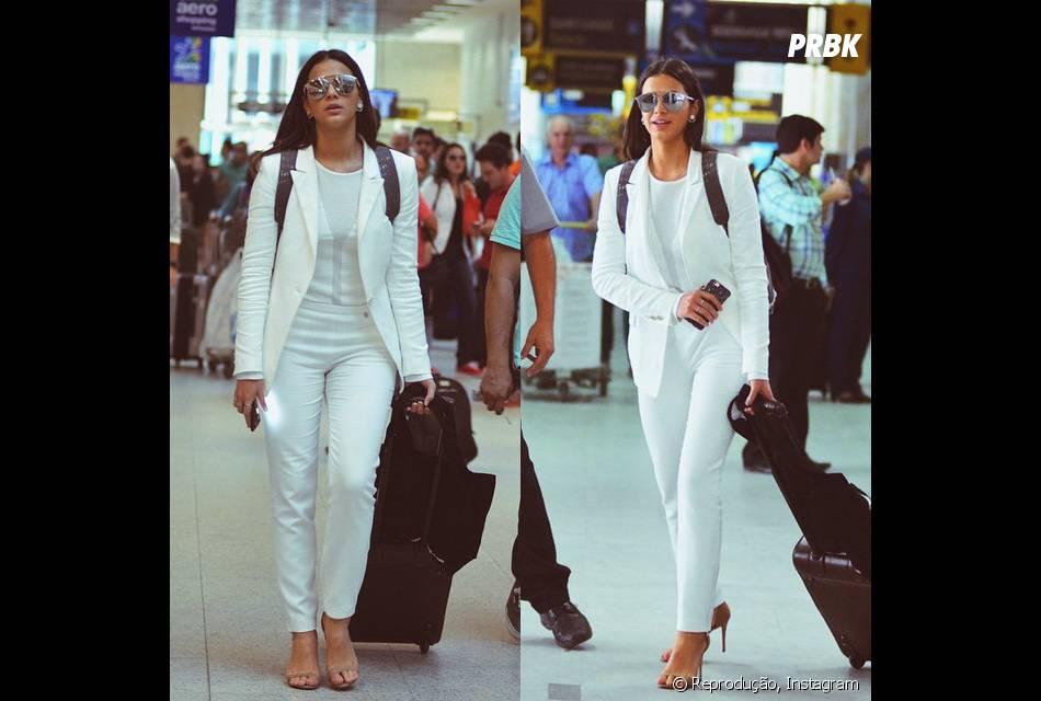 Bruna Marquezine aparece total white em aeroporto no Brasil