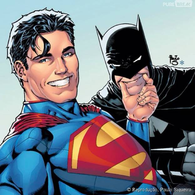 4ac30fc8e8bf9 Superman e Batman amigos para sempre! Mas bem que o Homem Morcego podia  sorrir mais