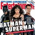 """Os protagonistas de """"Batman V Superman: A Origem da Justiça"""" já estrelaram a capa da Entertainment Weekly"""