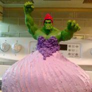 Bolo da Princesa Hulk? Crianças pedem uma torta de aniversário diferente e o resultado é hilário!
