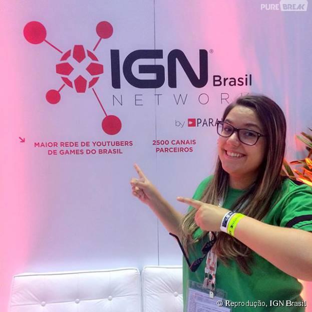 Malena no stand do IGN Brasil na BGS 2015