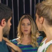 """Novela """"Cúmplices de um Resgate"""": Rebeca (Juliana Barone) vê Otávio com outra e tem crise de ciúmes!"""