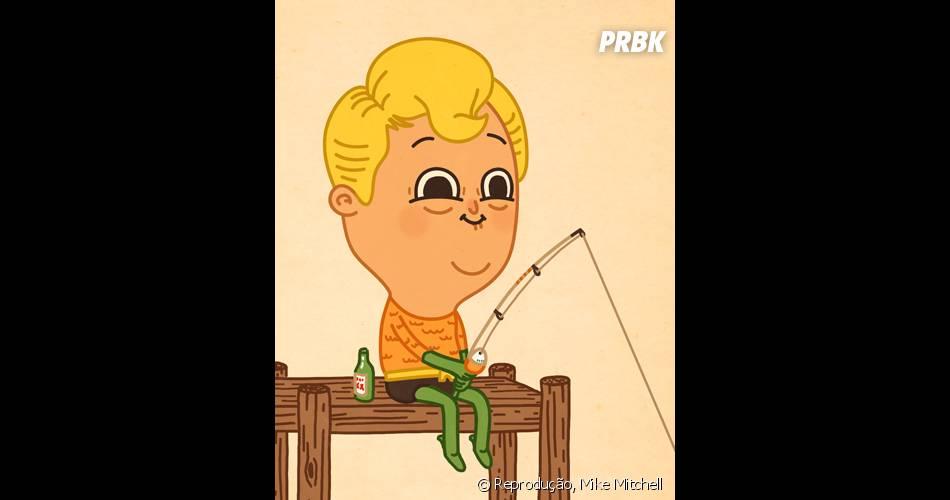 Aquaman com a idade só quer saber de ficar pescando