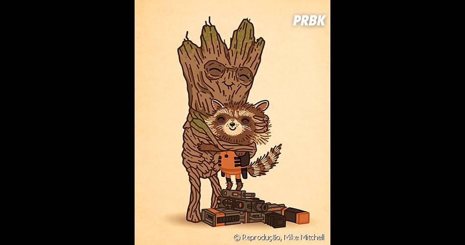 """Os heróis de """"Guardiões da Galáxia"""", Groot e Rocket, ficaram super fofinhos"""