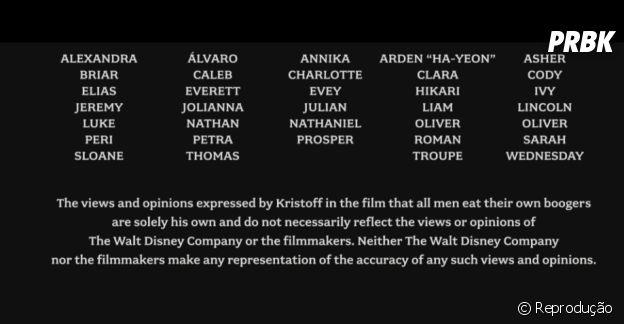"""De """"Frozen"""":nos créditos finais, a Disney informando que não apoia o consumo de meleca!"""