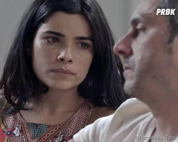 """Novela """"A Regra do Jogo"""": Tóia (Vanessa Giácomo) diz verdade sobre Romero (Alexandre Nero) na frente das câmeras!"""