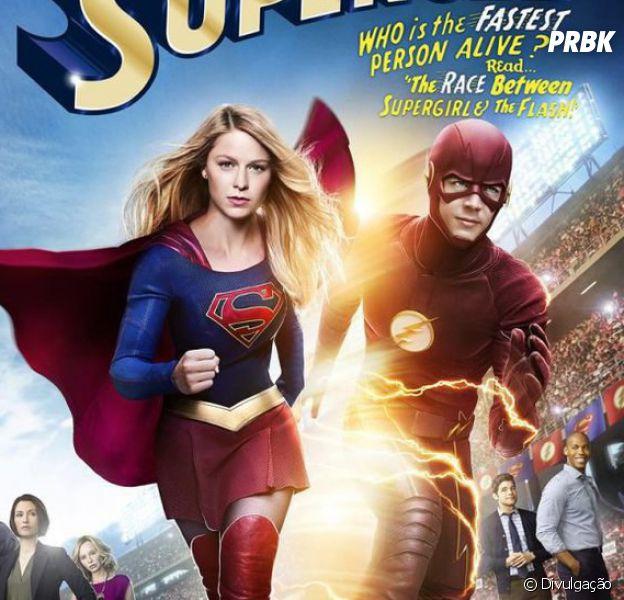 """Em """"The Flash"""" e """"Supergirl"""", Melissa Benoist (Kara) e produtores comemoram união das séries!"""