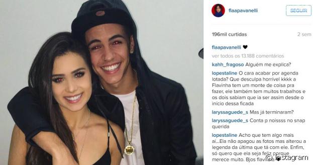 Flavia Pavanelli trocou a legenda da foto com Biel e os fãs começaram a questionar o fim do namoro