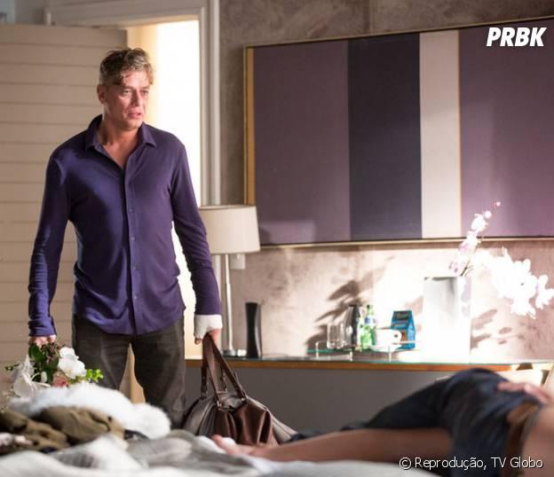 """Em """"Totalmente Demais"""", Arthur (Fábio Assunção) flagra Eliza (Marina Ruy Barbosa) e Rafael (Daniel Rocha)"""