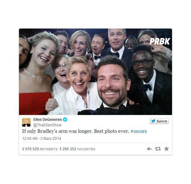 """Ellen Degeneres postou a selfie dos famosos em seu Twitter: """" Se ao menos o braço do Bradley fosse maior...Melhor foto de todas #oscar"""""""