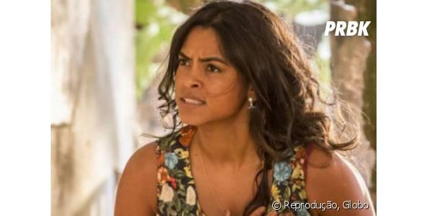 """Novela """"Velho Chico"""": Luzia (Lucy Alves) fica irritada ao ver Santo (Domingos Montagner) e Tereza (Camila Pitanga) juntos"""