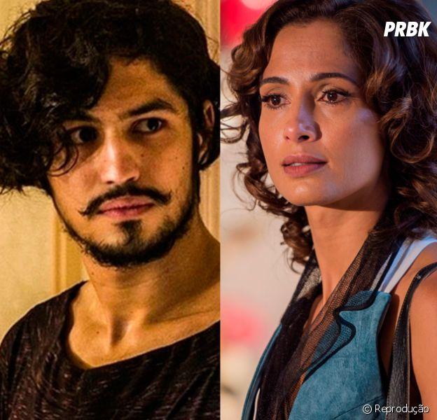 """Novela """"Velho Chico"""": Miguel (Gabriel Leone) descobre que é filho de Santo (Domingos Montagner) e se revolta com Tereza (Camila Pitanga)"""