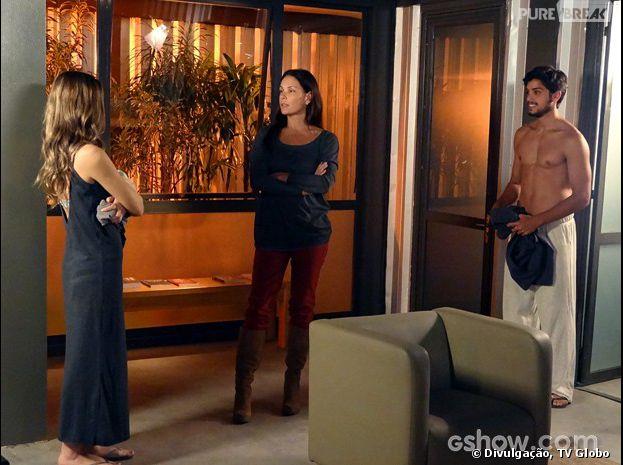 """Em """"Além do Horizonte"""", Tereza (Carolina Ferraz) ficará desconfiada de Marlon (Rodrigo Simas)"""
