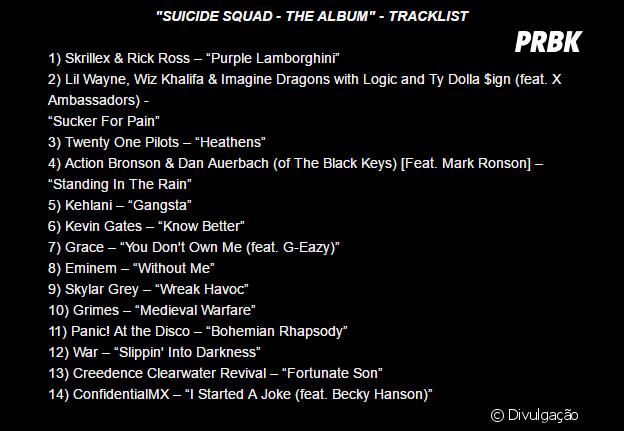 """A trilha sonora de """"Esquadrão Suicida"""" também foi lançada na última quinta (5)"""
