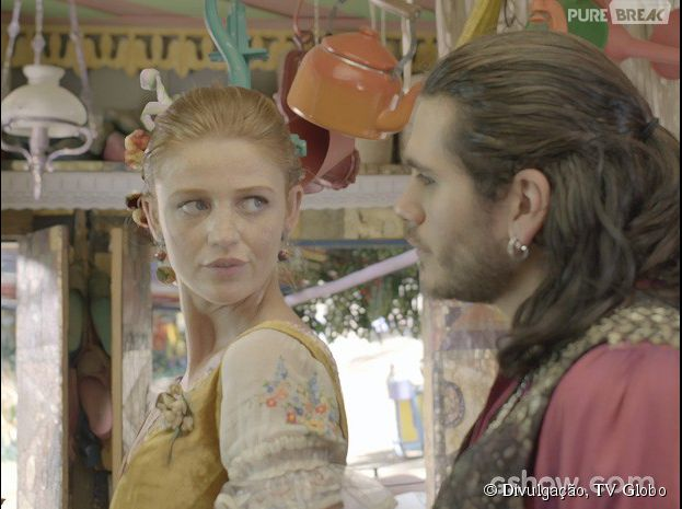 """Em """"Meu Pedacinho de Chão"""", Milita (Cintia Dicker) e Viramundo (Gabriel Sater) estão apaixonados"""