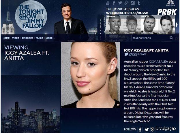 Anitta se apresentará no programa de Jimmy Fallon junto com Iggy Azalea