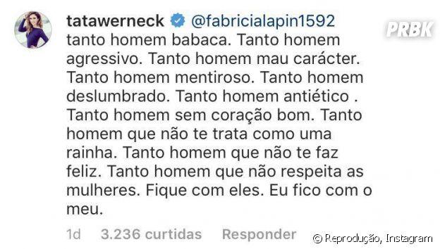 Tatá Werneck responde fã que chama Rafael Vitti de moleque