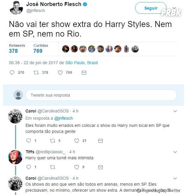 Harry Styles no Brasil: Jornalista José Norberto desmentiu um possível show extra do vocalista de One Direction