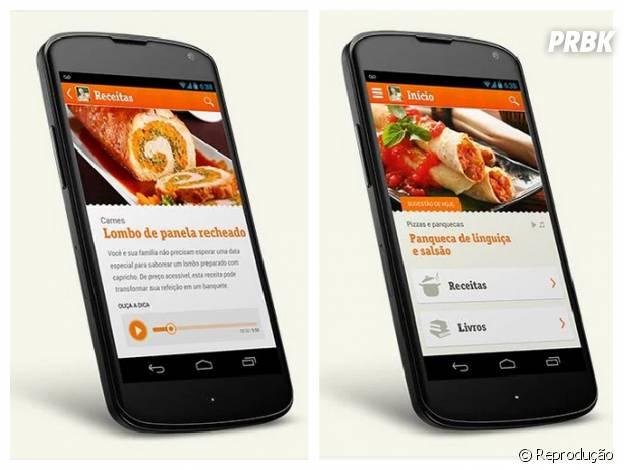 O aplicativo possue áudio e dicas para fazer suas receitas