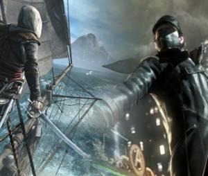 """Momento voyer em """"Watch Dogs"""" em que Aiden vê um filho e pai jogando """"Assassin's Creed"""""""