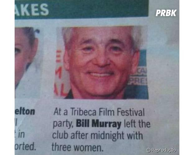 Bill Murray sai de festa acompanhado de três mulheres