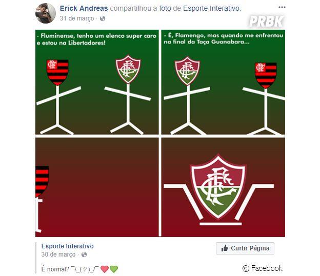 Erick Andreas, namorado de Mel Maia, torce pelo Fluminense