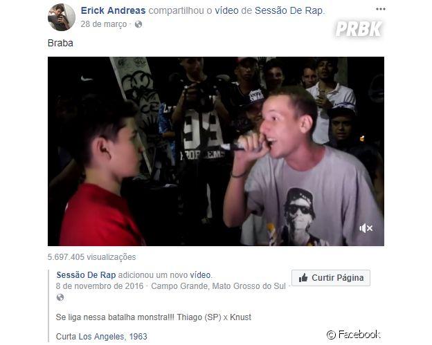 Erick Andreas, primeiro namorado de Mel Maia, curte rap
