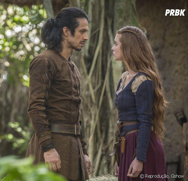 """Em """"Deus Salve o Rei"""", Amália (Marina Ruy Barbosa) decida voltar a Artena após não se acostumar à vida de noiva de Afonso (Romulo Estrela) em Montemor"""
