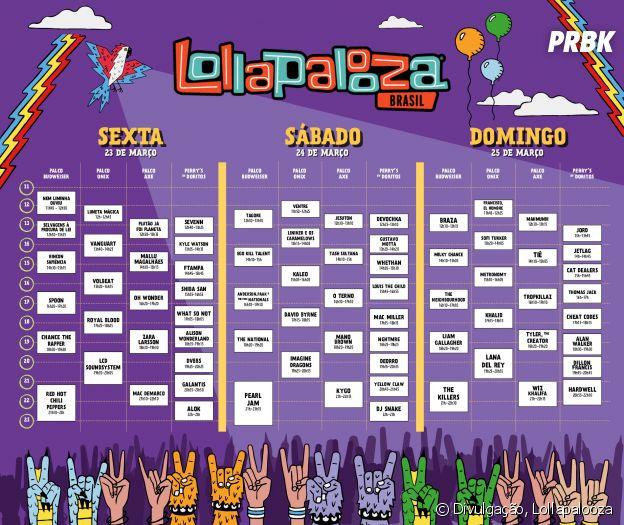 Horários dos shows do Lollapalooza 2018