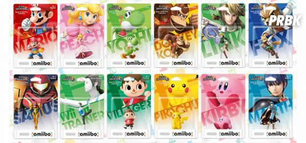 Os Amiibos disponíveis são: ario, Peach, Link, Samus, Yoshi, Donkey Kong, Pikachu, Kirby, Fox, Marth, Villager e Wii Fit Trainer