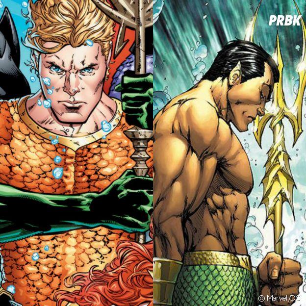 Aquaman e o Príncipe Namor são super parecidos, os dois tem poderes aquáticos e tridentes que usam para lutar