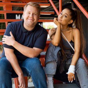 "Ariana Grande canta músicas do ""Sweetener"" no ""Carpool Karaoke"" com James Corden"