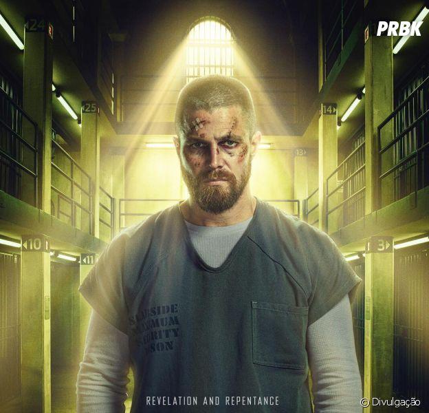 """Olive Queen (Stephen Amell) aparece preso em poster da 7ª temporada de """"Arrow"""""""