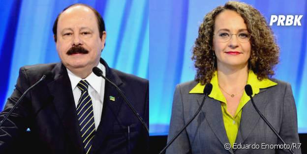 Levy Fidelix e Luciana Genro divergem opiniões quanto a união homoafetiva, no debate da Record entre os candidatos à Presidência da República em 2014