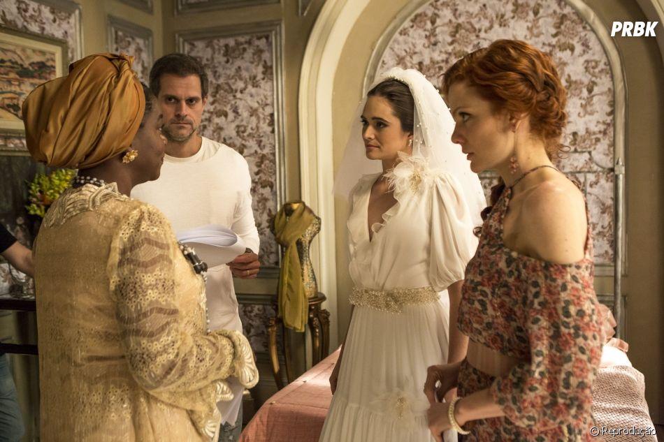 """Em """"O Tempo Não Para"""", Samuca (Nicolas Prattes) tenta impedir Marocas (Juliana Paiva) de se casar com Emílio ( João Baldasserini)"""