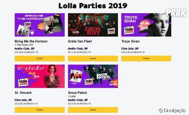 Esses são as atrações do Lolla Parties 2019